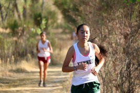 Michelle Tam (Senior) running in a meet keeping a lead against her fellow competitors. Photo by Alex Ng
