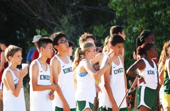 Fresh-Soph waits at the starting line to cheer on their team. Photo by Alex Ng.
