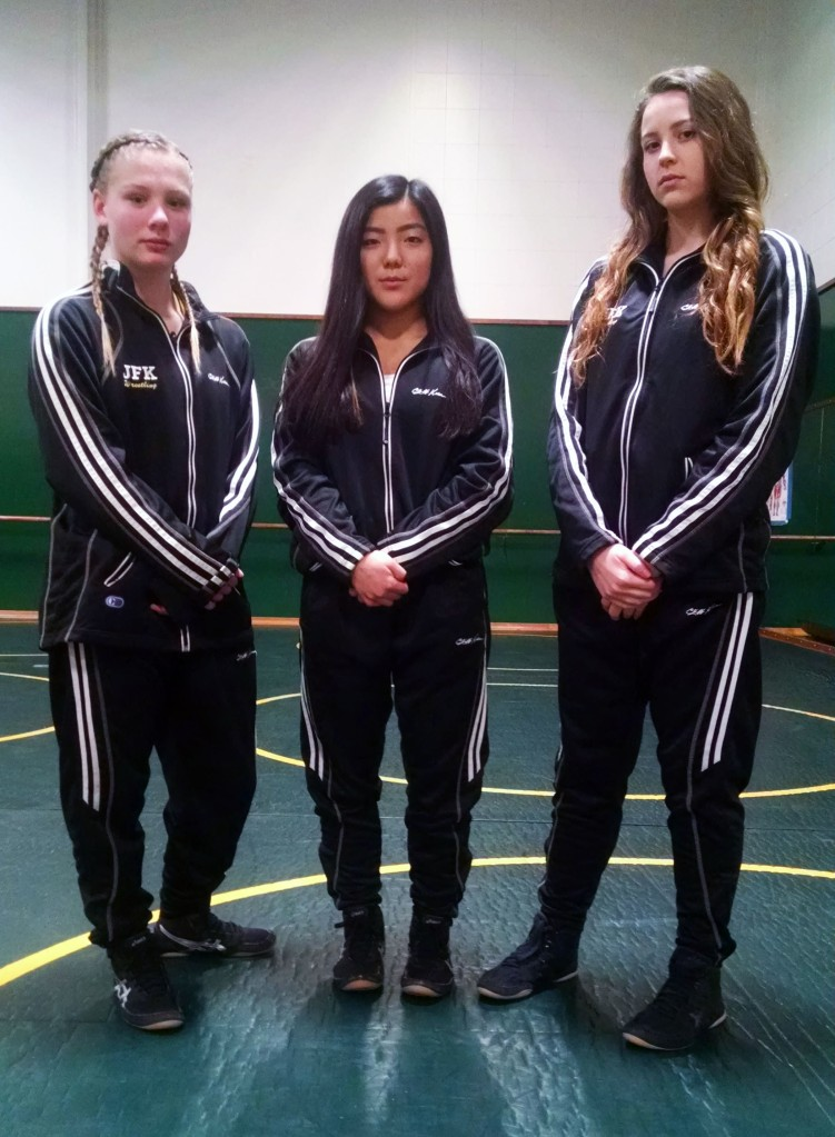 JFK Women's Wrestlers (L to R) Jazmine Koehler, Anna Fukuhara, Antonia Hart