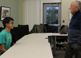 Chris Wong and Steve O'Donoghue, director of California Scholastic Journalism Initiative, use role-playing to show students rights as journalists and the loopholes used obtain information needed to complete articles in the future.