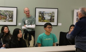 Kennedy Clarion journalists Natassia Aleman-Teweles, Katelyn Yang, Advisor Mr. Hanzlik, and Chief Editor Chris Wong listen to Sacramento Area Student Journalist Network advisor Steve O'Donoghue