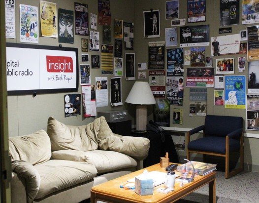 The Green Room was a place to relax for visiting guests who were to go on air.
