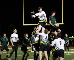 Kennedy senior, Jaycob Boissonneau is shown successfully keeping the ball away from an opponent during a line-out in match against Sacramento Eagles on March 10. Photo by Matiana Tepa