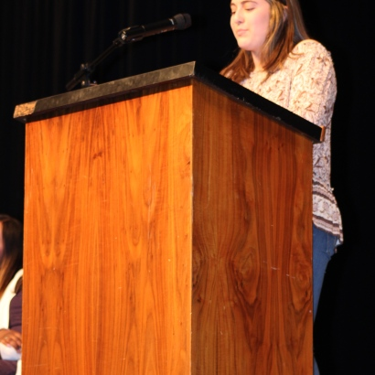 Running for ASB Treasurer, Lauryl Gonzalez (10) addresses the crowd comfortably in her third recitation of her speech for the day. Her second year of experience in student government prepared her to run for a higher position during her junior year. (Photo by Saeri Plagmann)