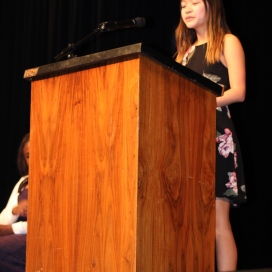 Addressing her fellow juniors, Julia Cheng (11), candidate for ASB vice president, reads her speech to the crowd. Like all responsible and dutiful representatives, she pledged to listen to her constituents. (Photo by Saeri Plagmann)