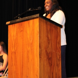"""Beaming to the crowd, ASB President Candidate Makenzie Cross (11) seeks change at school and calls on students to voice what change they seek. """"All I ask is that you vote, vote for change, vote for that connection, not because I'm telling you to, but because you want to,"""" she concluded."""