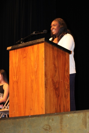"Beaming to the crowd, ASB President Candidate Makenzie Cross (11) seeks change at school and calls on students to voice what change they seek. ""All I ask is that you vote, vote for change, vote for that connection, not because I'm telling you to, but because you want to,"" she concluded."