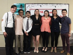 Clarion staff members attending the 6th Annual Journalism Awards Dinner. (L to R) Dominic Larsen, Chris Wong, Aaron Soliz, Jazmin Flemmer, Saeri Plagmann, Natassia Aleman-Teweles, and Alex Ng. Clarion Staff Photo