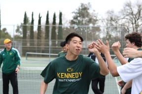 Team captain Matthew Lin (top), co-captain Jared Mah (middle), sophomore Connor Dorais (bottom) and the rest of the tennis team fist bumping before their match against Christian Brothers. Photos by Alex Ng.