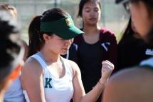 Sabrina Leung (12) gives an inspirational speech to motivate her team. (Photo by Bruce Tran)