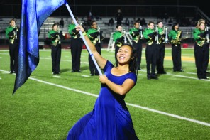 Color Guard member Grace Yang (11) Photo by Clarion Staff