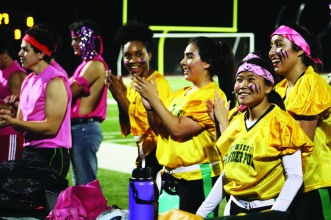 Powderpuff Seniors shown between plays. Photo by Makayla Smith