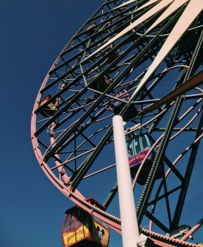 "10-CHILDHOOD MEMORY by Adrianna Iorio ""In Disneyland, the famous ferris wheel ""Mickey's Fun Wheel"" spins as children impatiently wait to board. While waiting, I recall my childhood fear of heights."""