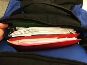 "20-IN MY BACKPACK by Timmy Curry ""All purpose red folder, sketchbook, and AP Government binder inside of blue backpack."""