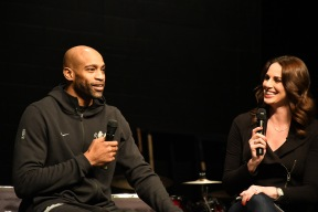 Vince Carter talks with students in the auditorium, Kings broadcaster Kayet Christensen served as moderator. (Photo by Sarif Morningstar)