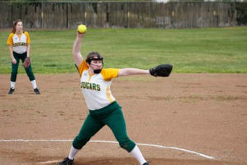 Girls Softball JV pitcher Alyson Eystad (9) prepares to release her wicked pitch. Clarion photo by Sarif Morningstar.