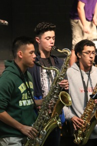 Kennedy Band's saxophonists performing during 2nd Annual Youth Art Month Assembly (Photo by Micah Manugo)