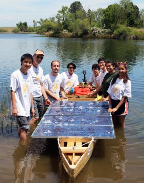 The Kennedy solar regatta team shows off their watercraft at Rancho Seco Recreational Area on May 4. Pictured (L to R) David Yu, Mr. Indreland, Bradley Nielson, Theo Tran, Enrique Garcia, Michael Huang, Mia Whitfield, and Sarah Cerda.