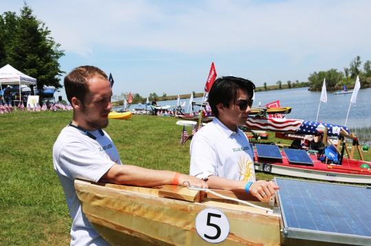 Bradley Nielson and Theo Tran take a break between races at the solar regatta event at Rancho Seco Recreational Area.