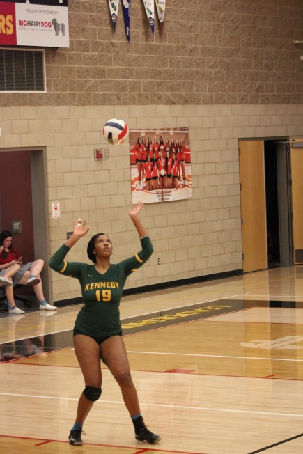 Jordan Lorde sets her sights on the ball. Photo by Carlos Sandoval, JFK Yearbook staff