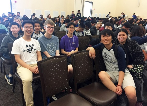 MESA Club members pictured at UC Davis in March include (l-r) 1st row- Benny Vang, Peggy Liu, 2nd row- Francis Feng (club president), Tyler Reynen (club VP), Ricky Ho (club secretary), 3rd row- Nick Xiong, Masanori Monguchi, hiding behind Benny is Xiaodong Lin (club treasurer). Photos courtesy Mrs. Henry, B23
