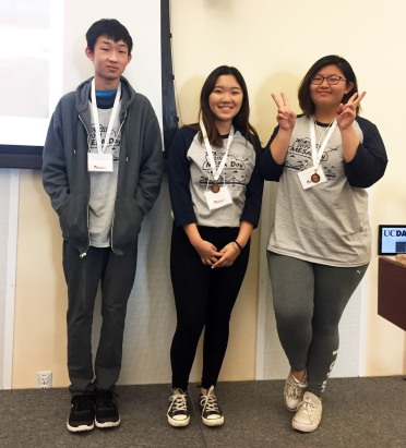 Pictured (L to R) Ziadong Lin, Tiffany Zhang, Kylee Vang, 2nd Place Ultimate Disk
