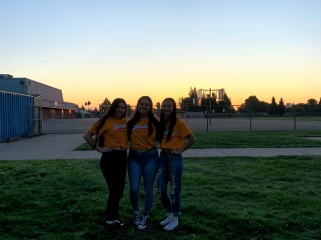 From left to right: Ashley Nishikawa, Davina Chavarria, and Kaylyn Yu (Class of 2020), prominently posing and basking in the sunrise with Cougar spirit at Senior Sunrise, September 6, 2019. Photo By Aleena Martinez, Clarion Photo Editor
