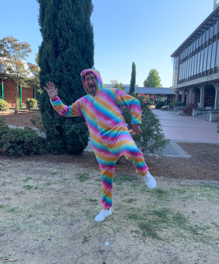 Donald Lee, Kennedy English and Drama teacher, shows his Homecoming spirit on Pajamas Day, October 14, 2019.