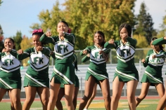 Kennedy Cheerleaders perform at the Homecoming rally at the Kennedy Stadium on Friday, October 18, 2019.
