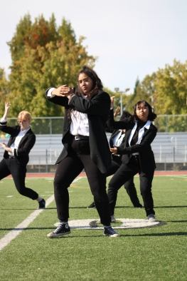 Kennedy Colin (Class of 2021) and the Vibe in Promo (VIP) dancers perform at the Homecoming rally at the Kennedy Stadium on Friday, October 18, 2019.