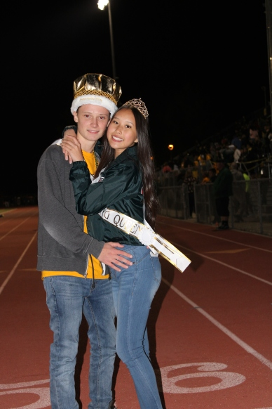 Chase Hollman, Bellanie Song (Class of 2020) the Homecoming Royalty pose at halftime during the Homecoming Game at the Kennedy Stadium on Friday, October 18, 2019.