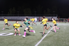 Jenifer Bowen (Class of 2021) runs during the Powderpuff game at the Kennedy Stadium on Wednesday, October 16, 2019.