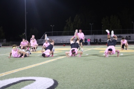 Powderpuff cheerleaders perform during the Powderpuff game (half time) at the Kennedy Stadium on Wednesday, October 16, 2019.