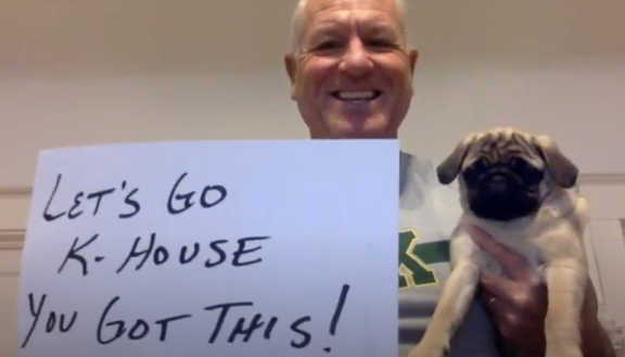 Kennedy Athletics Director David Parsh and friend send the love in Kennedy's staff video greeting, released on April 17, 2020.